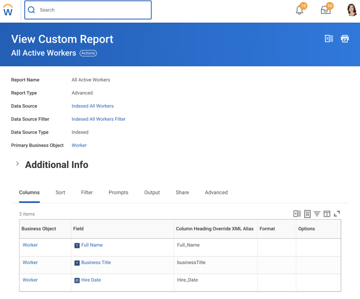 Workday Custom Report definition.