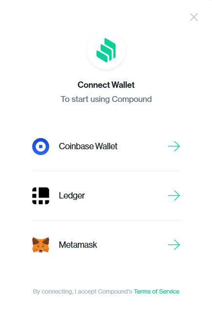 compound finance bitcoin crypto blockchain lending wallet coinbase ledger metamask