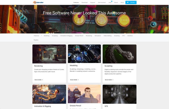 Blender website screenshot