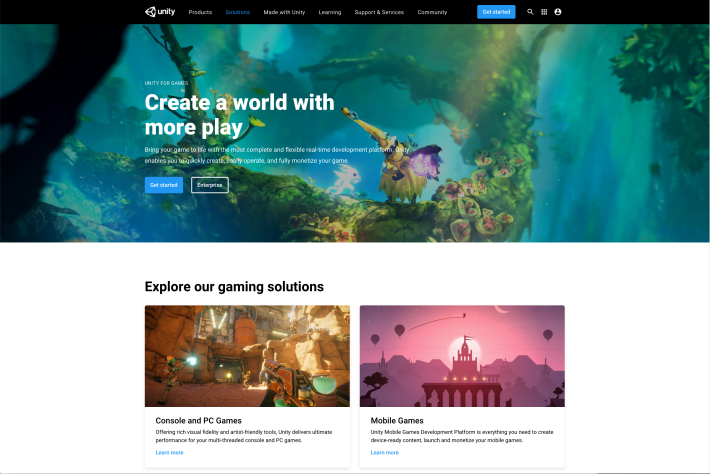 Unity website preview image