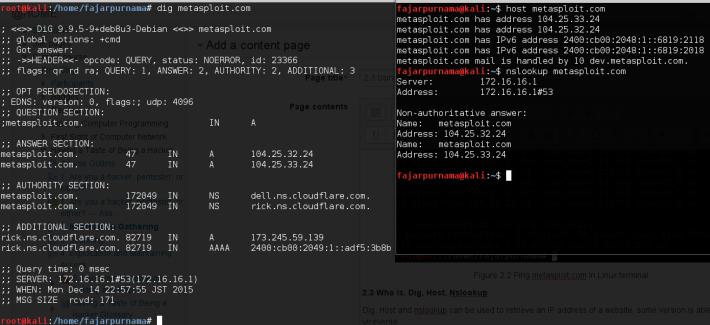 Figure 2.3 Dig, host, and nslookup on metasploit.com.
