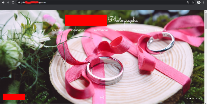 The domain's website leads to a wedding photography page