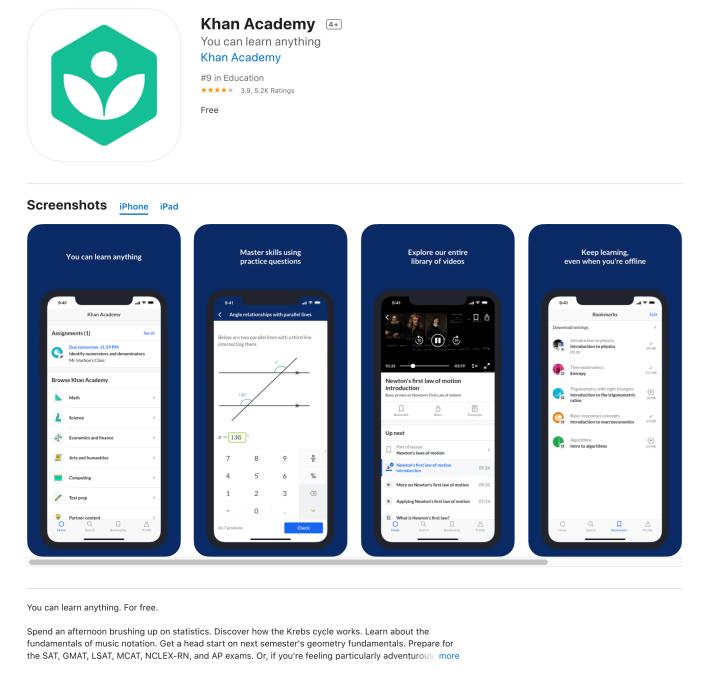 Kahn Academy app store preview