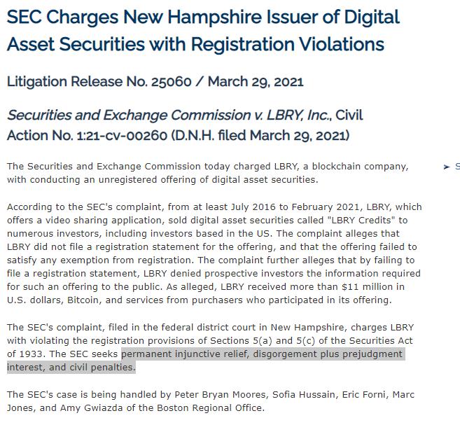 LBC SEC notice