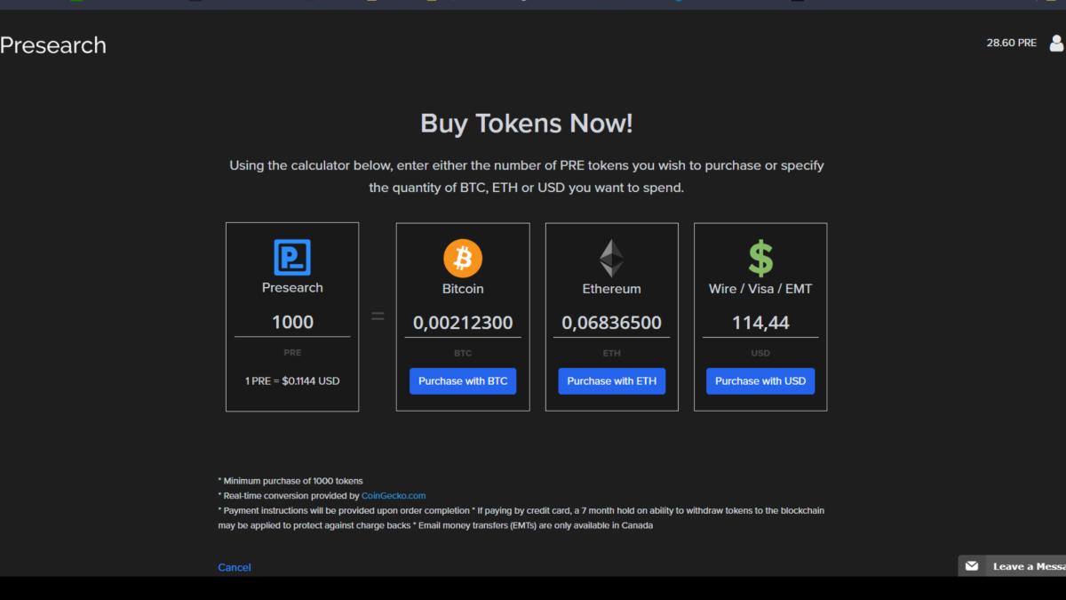 Buy PRE tokens