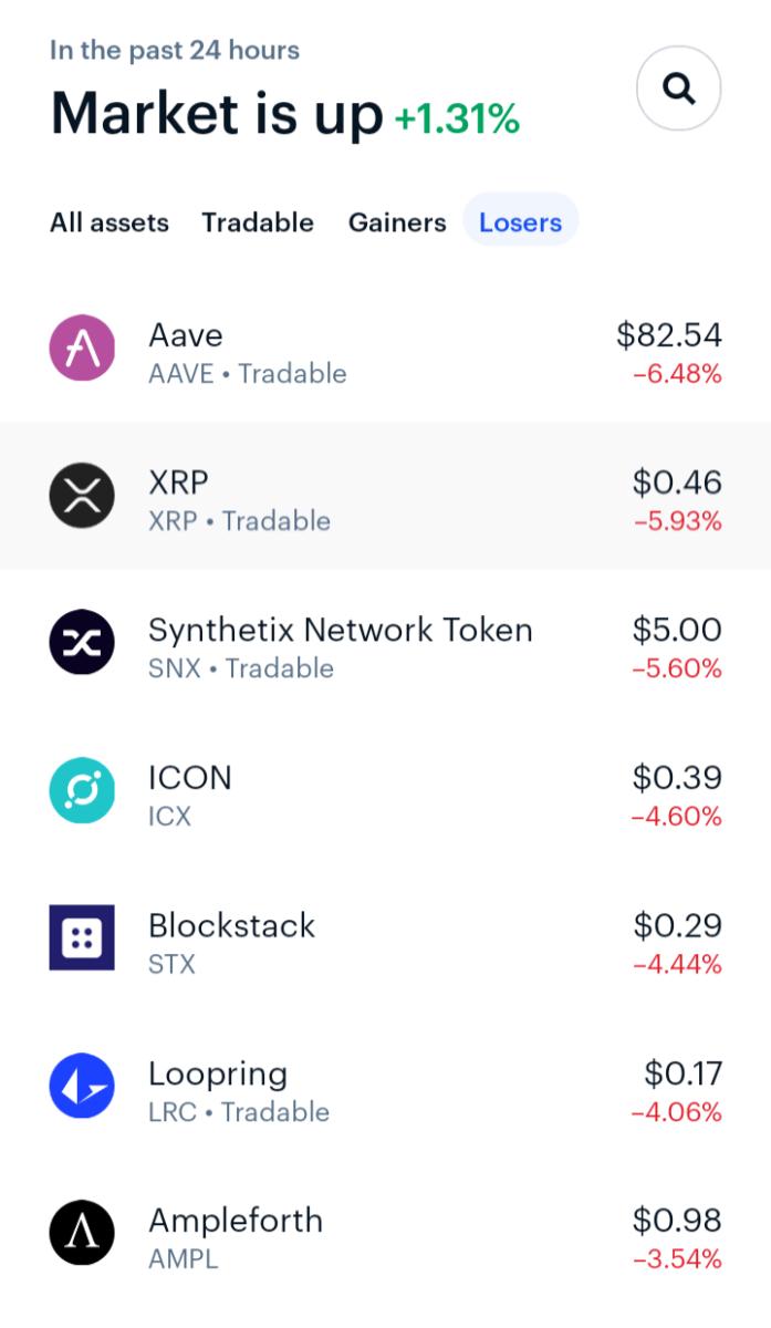 Coinbase mobile app screenshot