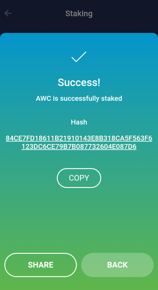 AWC Staking Tutorial