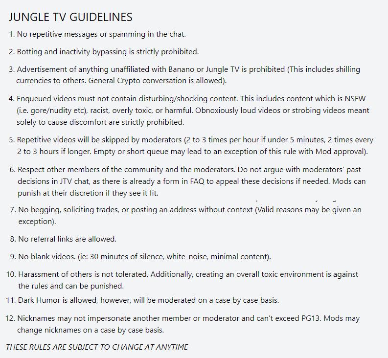 Figure 20. JungleTV Community Rules.