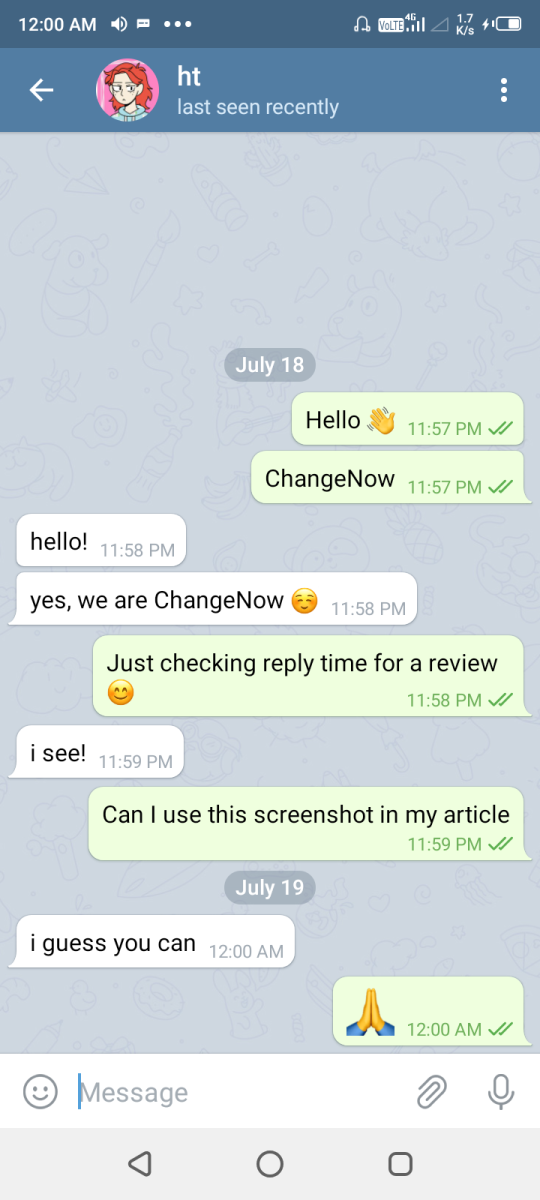 ChangeNow fast Support