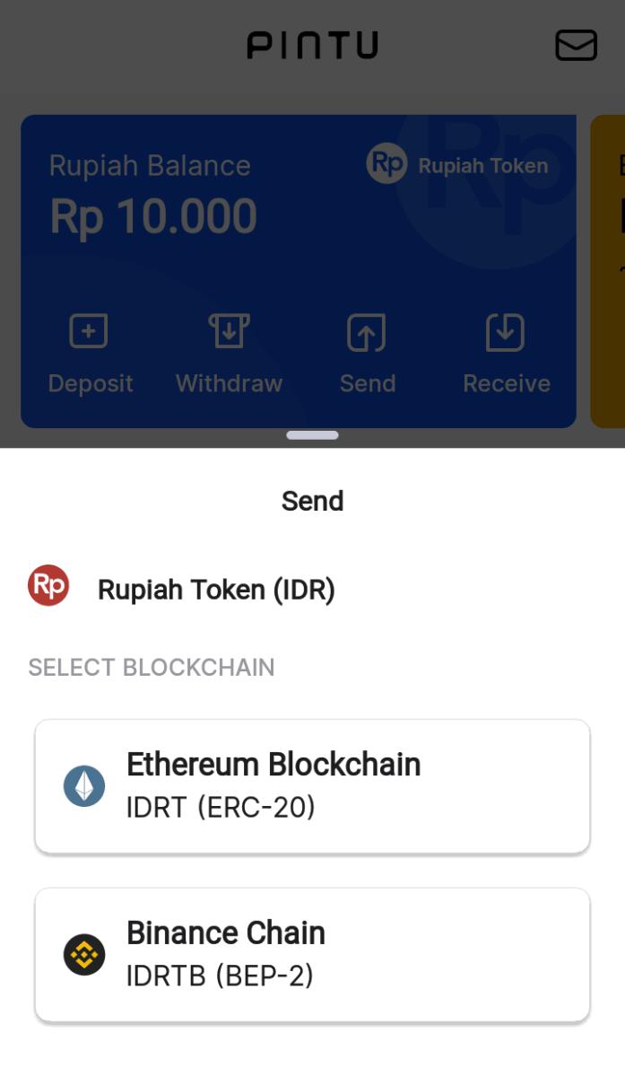 image of Pintu's crypto transfer UI