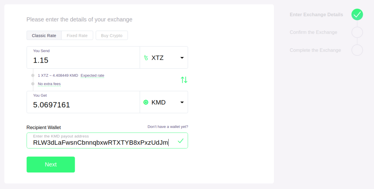 ChangeNOW selecting assets