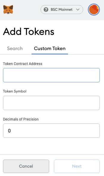 Add custom token scree in metamask