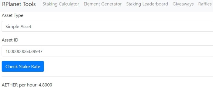 R-Planet staking calculator