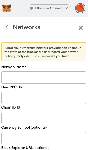 Metmask add network menu