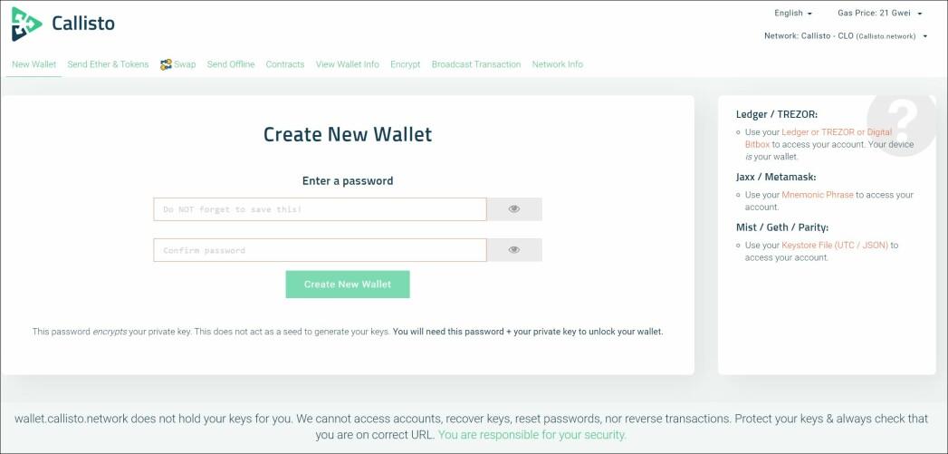 create CLO wallet
