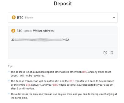Deposit BTC