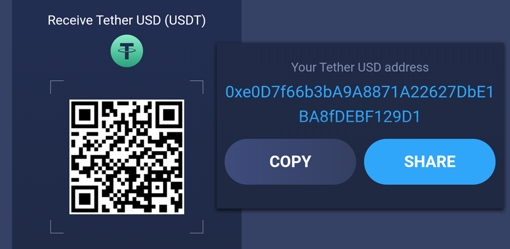 image of Atomic Wallet UI for receiving USDT, it also display my USDT address for receiving tokens.