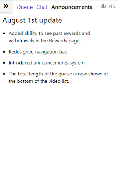Figure 4. The Announcements screen.