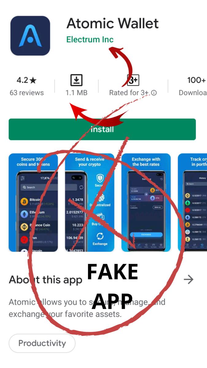 Fake Attomic wallet app