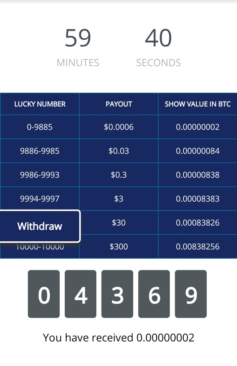 The box of lucky number .It will change by the price of coins .