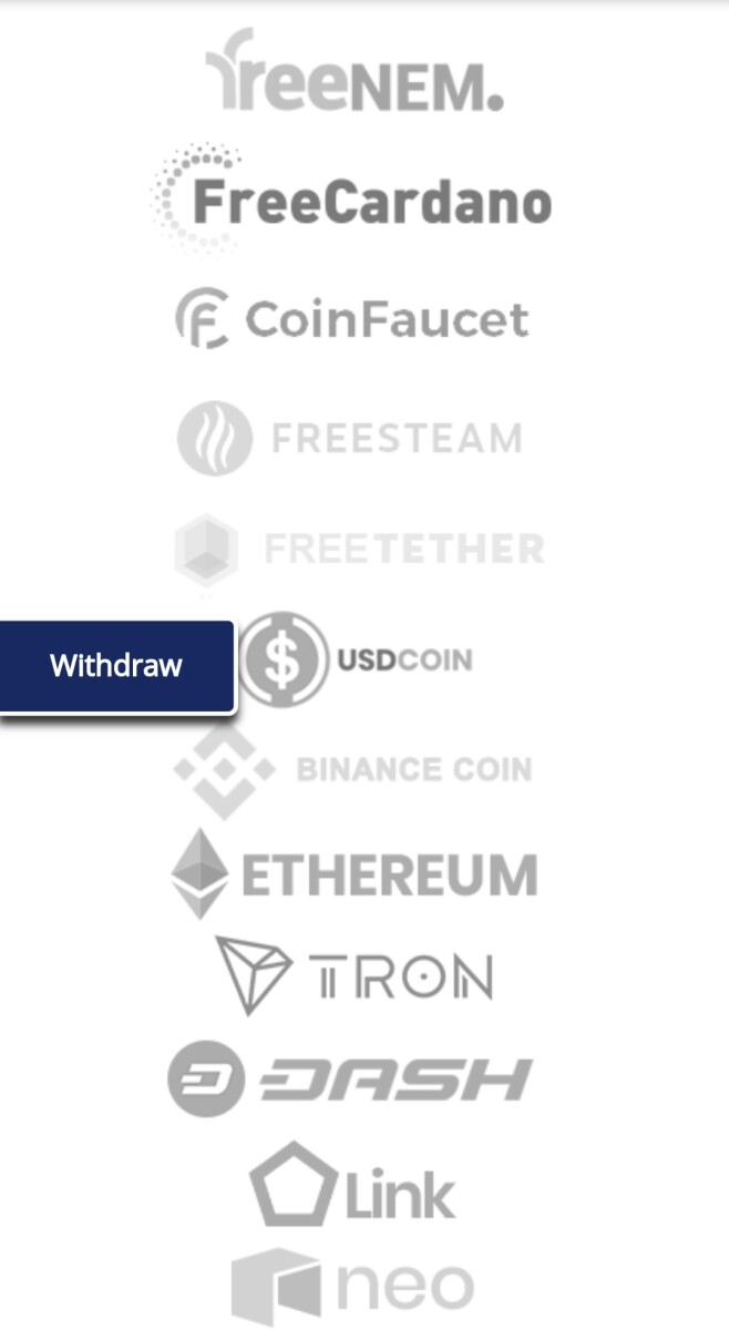 The list of other sites with different coins but same method.