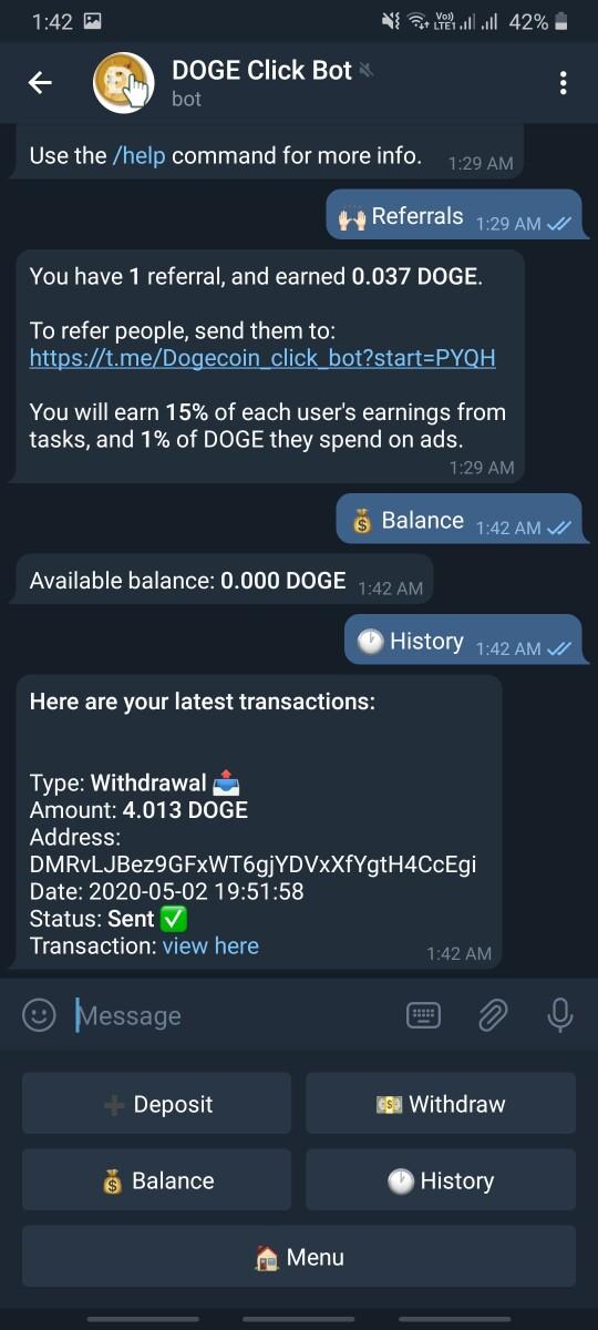 Bot withdrawal