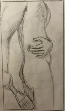 Briden standing with paintbrush, torso - 15-minute timed pencil sketch
