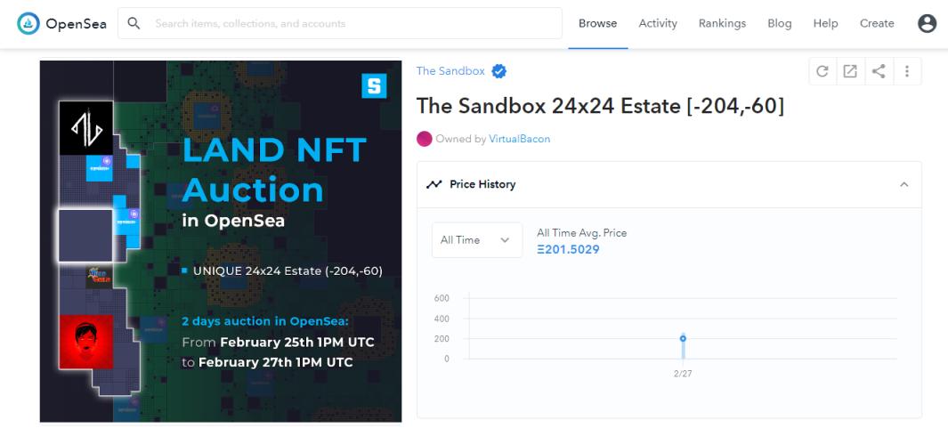 Sandbox XL Estate Land Auction