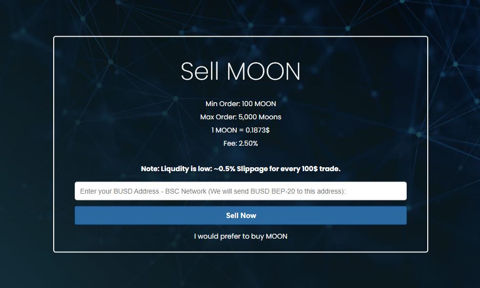 Selling Moons in MoonsSwap