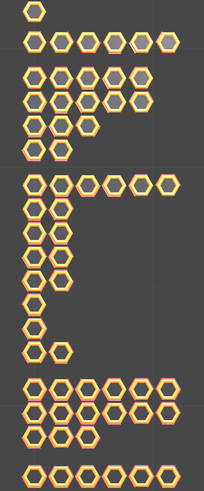 Hopefully all the possible combinations of hexagon openings and directions