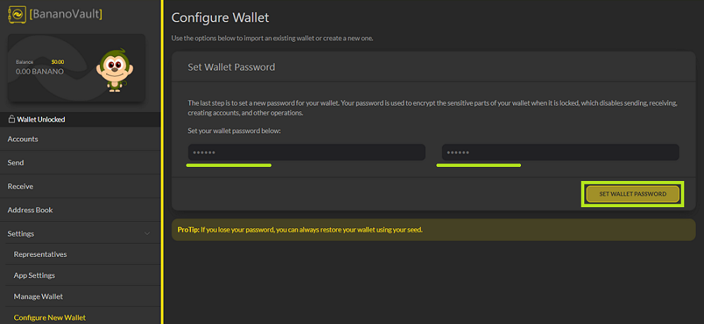 Set your password on BananoVault - udinxyz