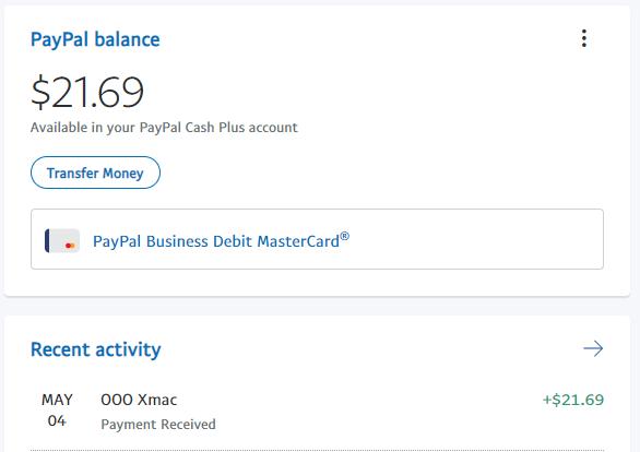 Paypal Balance 5-4