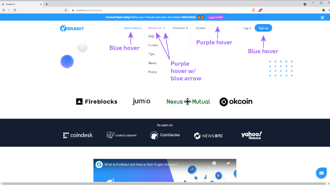 Hodlnaut inconsistent hover states purple and blue