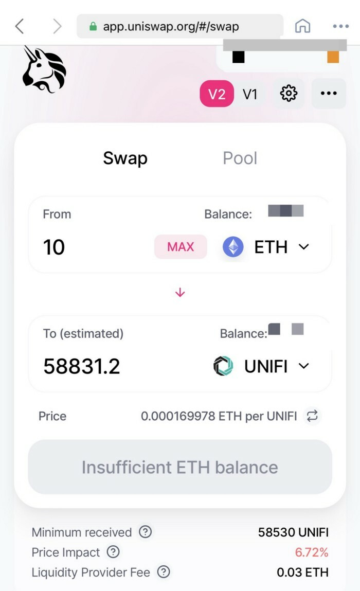Step four: buying UNIFI DeFi tokens!