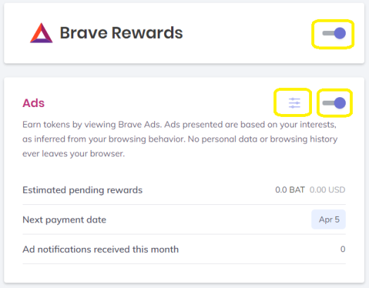 rewards settings