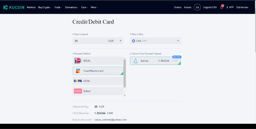 Buy crypto on Kucoin  using a credit/debit card
