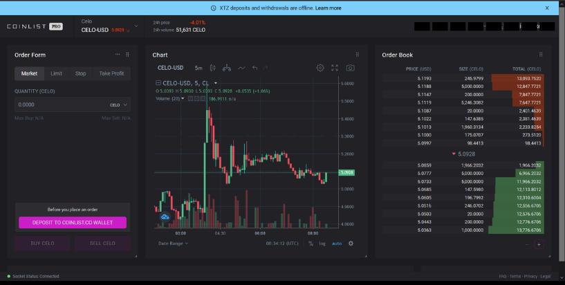 Coinlist PRO exchange