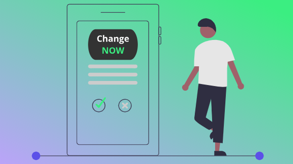 Man using ChangeNOW on mobile phone
