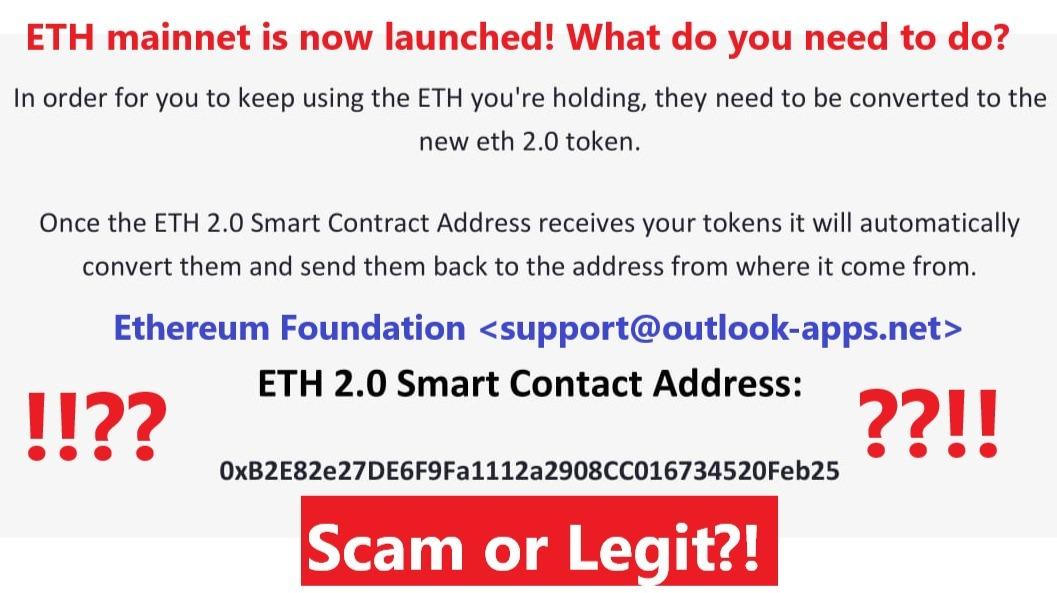 Ethereum convert to Ethereum 2.0 suspicious email 0