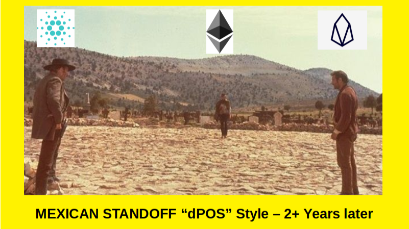 """Clint Eastwood's """"Cardano"""" Stand-in Gets in done in the Mexican Standoff with Ethereum and EOS :)"""