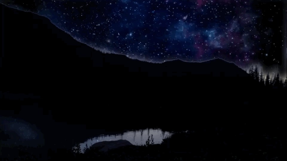 A starry night on a high mountain lake