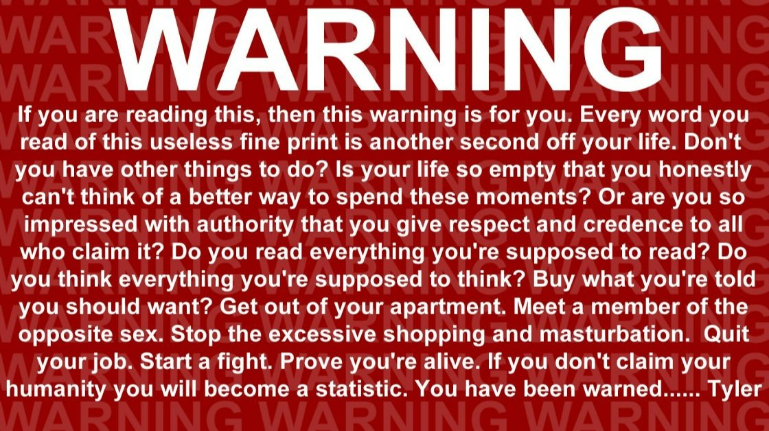 Fight Club warning message