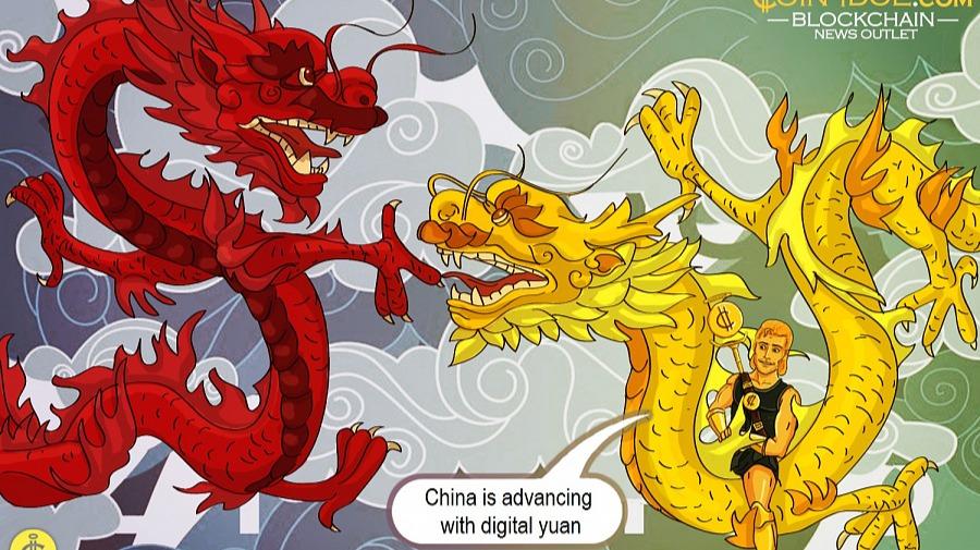 An artistic representation of dragon talking about Digital Yuan