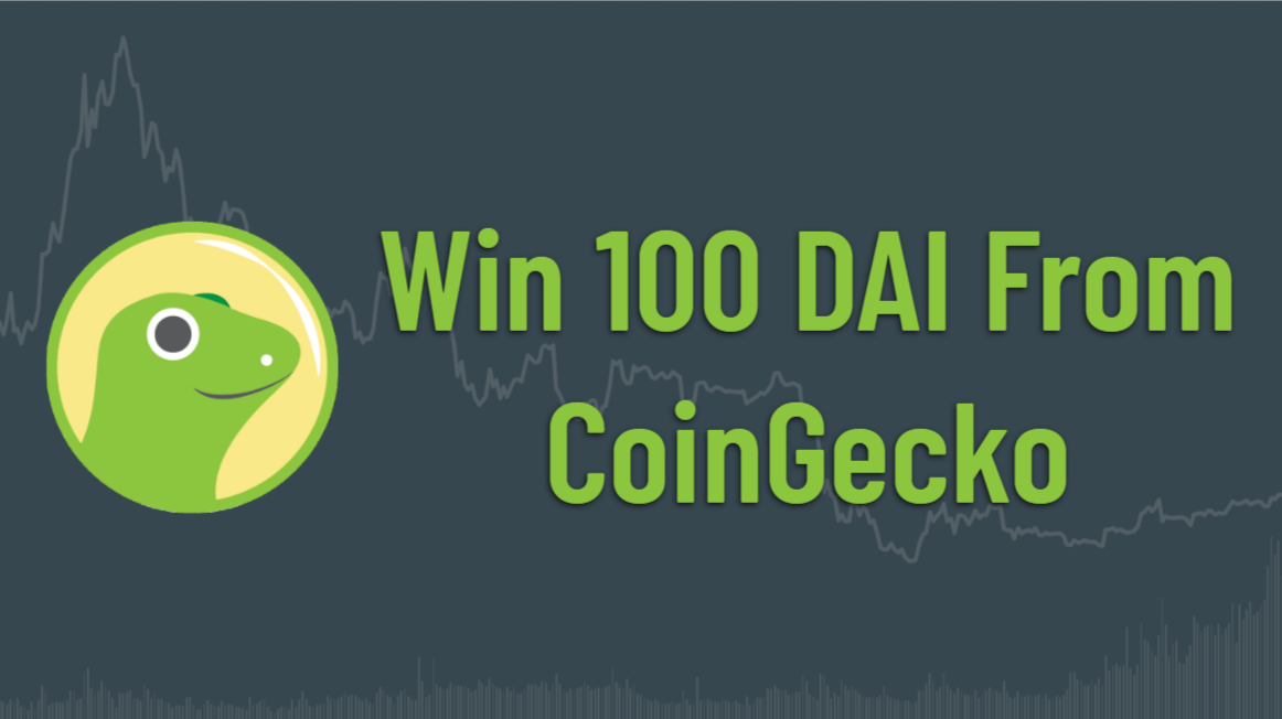 "CoinGecko logo with words ""win 100 DAI from CoinGecko"""