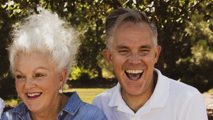 Old man and woman smiling