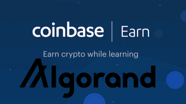 Coinbase Earn Program with Algorand Cryptocurrency Logo