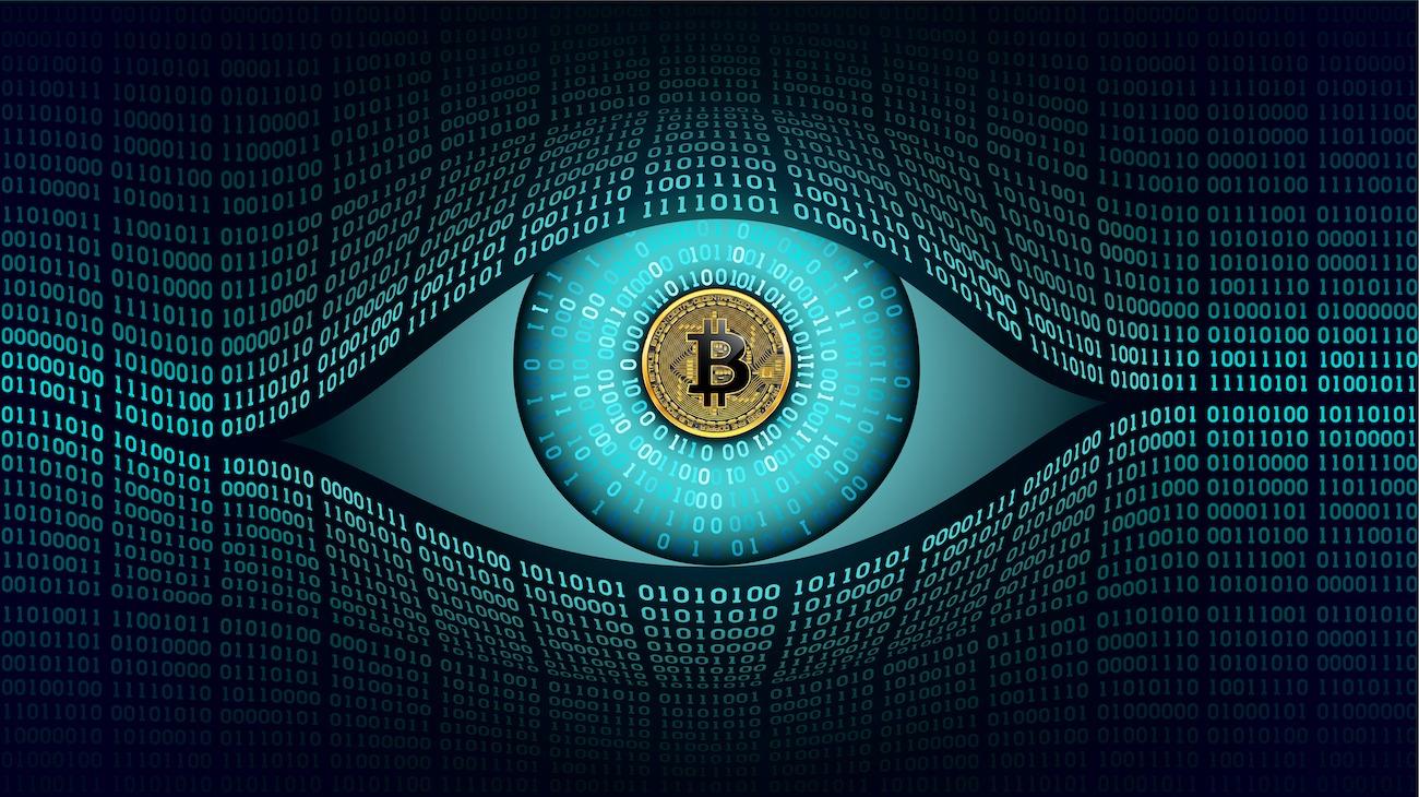 Watching eye w/ Bitcoin logo