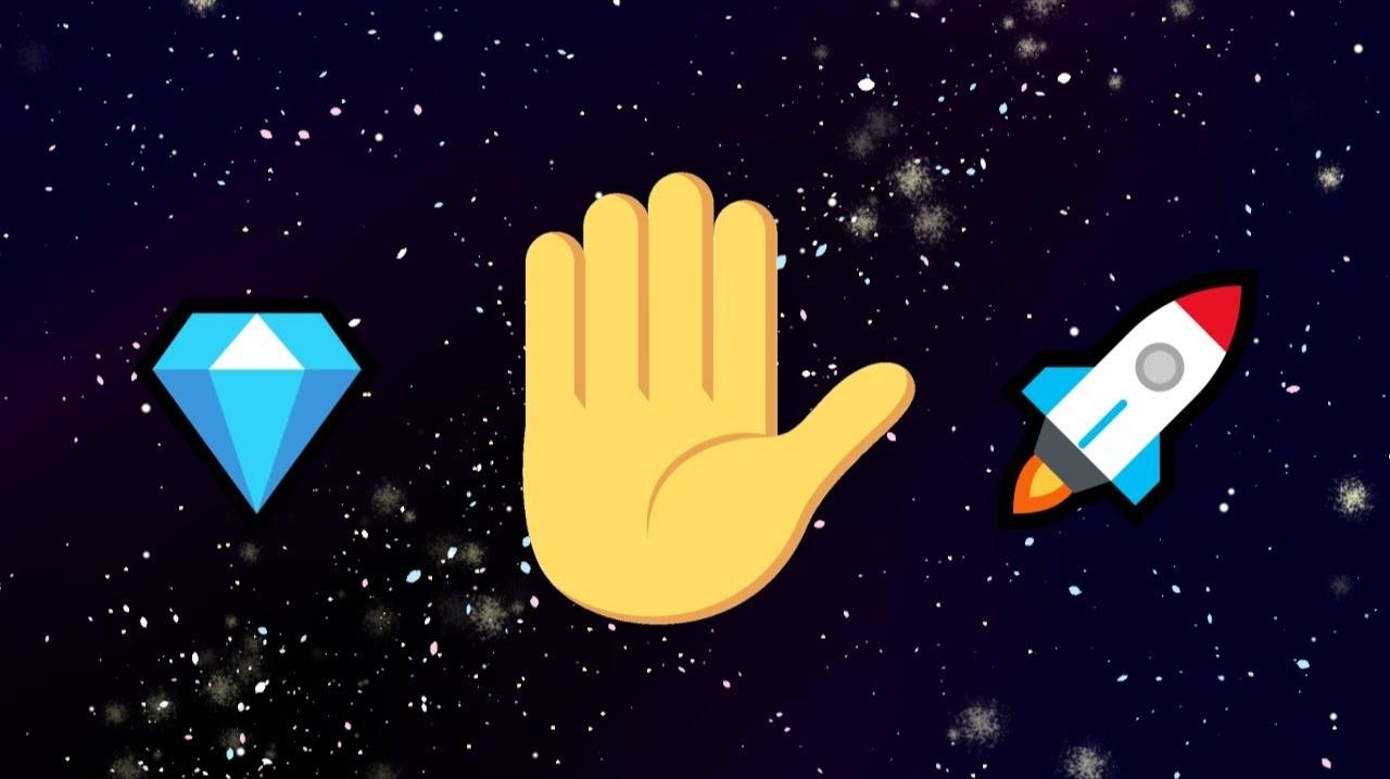 diamond emoji, hand emoji, rocket emoji