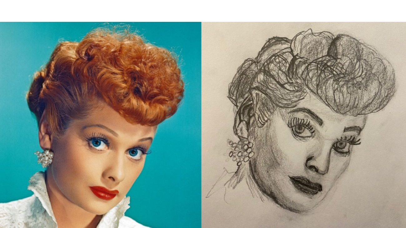Glamor photo of Lucille Ball compared to pencil portrait