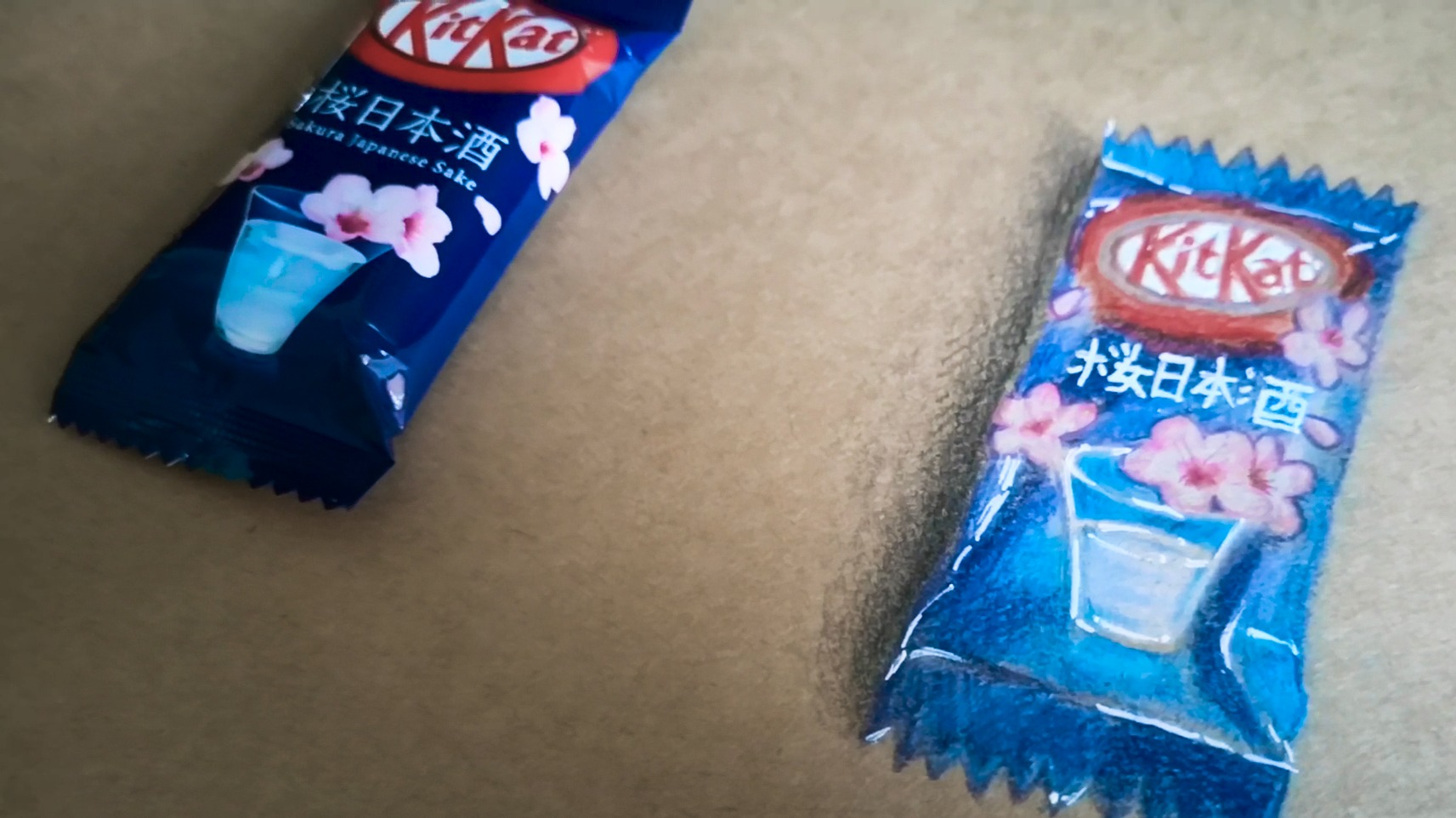 Japanese KitKat with Sakura and Sake Flavour drawn with Color Pencils